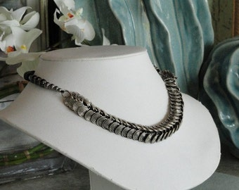 Tibetan silver center with Black Pearls beaded necklace  -  89