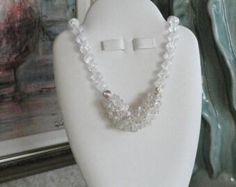 Crystal Quartz beaded necklace  -  105