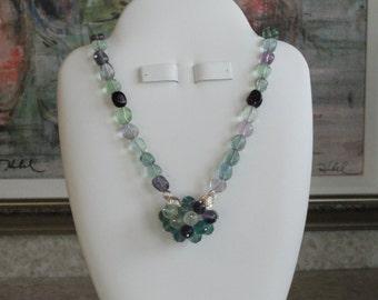 Flourite beaded necklace  -  108