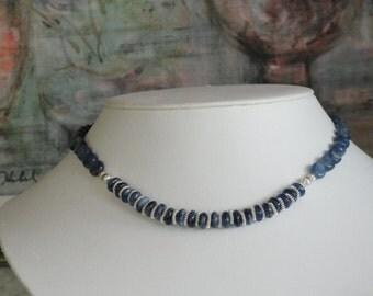 Kyanite blue beaded necklace  -  122