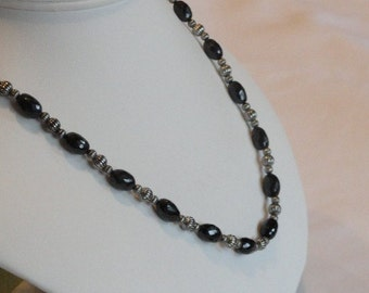 Black Onyx beaded necklace  -  131