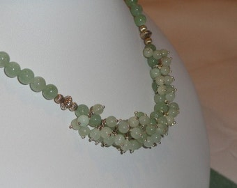 Green Aventurine beaded necklace  -  132