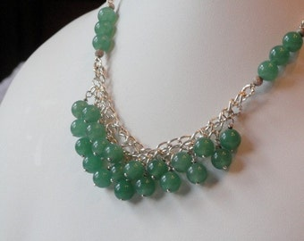 Green Aventurine beaded necklace  -  134