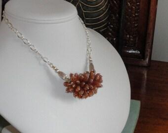 Garnet beaded necklace  -  136