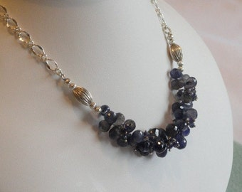 Blue Iolite beaded necklace  -  139