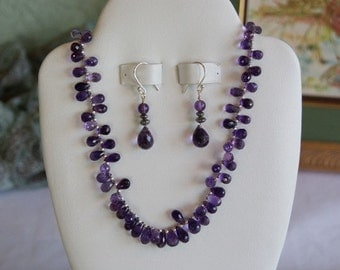 Purple Amethyst beaded necklace  -149