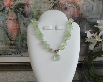 Prehinite beaded necklace with Pendant  -  152