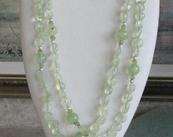 Double strand Prehinite beaded necklace  -  153