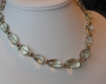 Green Amethyst beaded necklace  -  158