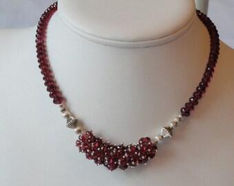 Rhodolite Garnet beaded necklace  -  159