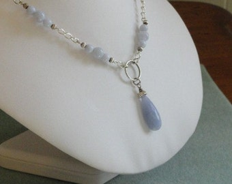 Chalcedony beaded necklace with Chalcedony pendant -  169