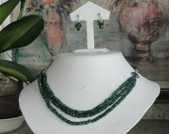 Green Aventurine beaded necklace  -  175