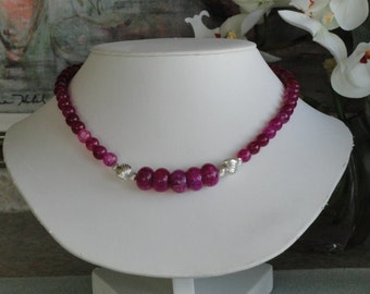 Hot pink marbled Agate beaded necklace  -  179