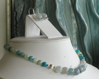 Agate beaded necklace  -  181