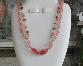 Cherry Quartz beaded necklace  -  192