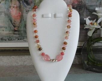 Cherry Quartz beaded necklace  -  193