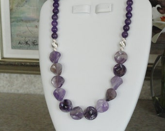 Amethyst beaded necklace  -  197