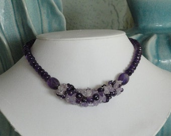 Amethyst beaded necklace  -  199
