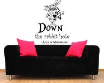 Alice in Wonderland Wall Decal Quote Vinyl Sticker Decals Quotes Down The Rabbit Hole Wall Decal Quote Sayings Wall Decor Nursery ZX20