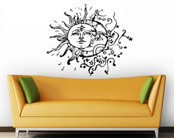 Moon Wall Decal Vinyl Sticker Decals Sun And Moon Crescent Dual Ethnic Stars Night Symbol Sunshine Bohemian Boho Home Decor Bedroom ZX2