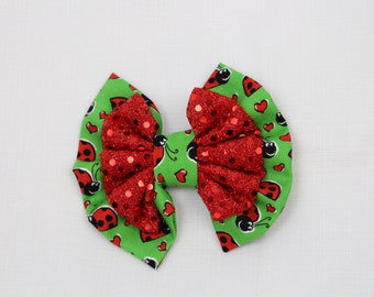 Sparkle Lady Bug Hair Bow