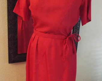 1960's Ivan Frederick's Red Dress Excellent Condition! Aprox. Size 12-Free Shipping
