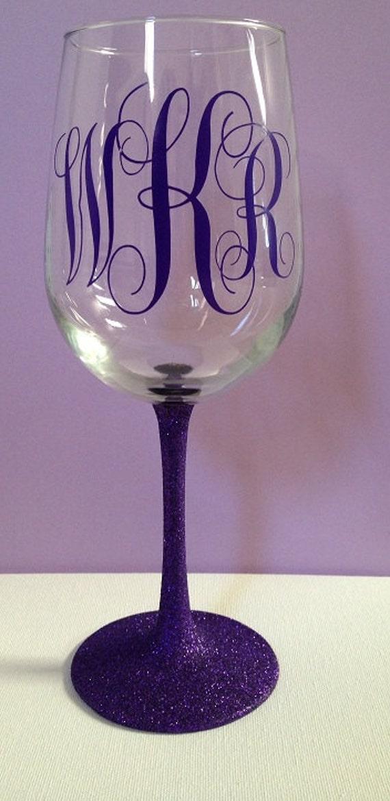 Items Similar To Monogram Wine Glass Glitter Stem On Etsy
