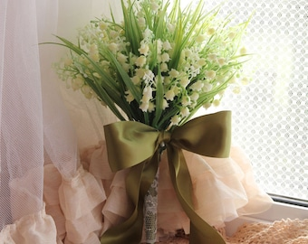 Bridal Bouquet , Silk Bouquet , Wedding Bouquet , Lily of the valley , White , Green , Bouquet with Groom 's Boutonniere #No2_002W