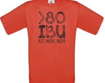 Craft Beer Shirt: 80 IBU, add more hops (red),craft beer shirt, man shirt, beer gift
