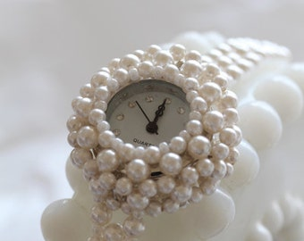 Swarovski Crystal Beaded Watch (Pearl)