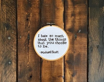 Michael Scott Embroidery Hoop Art
