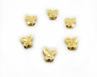 Batterfly Spacer Beads, 6 pcs Batterfly Beads, Gold Color Batterfly, Metal Batterfly, Jewelry Making, Craft Supplies