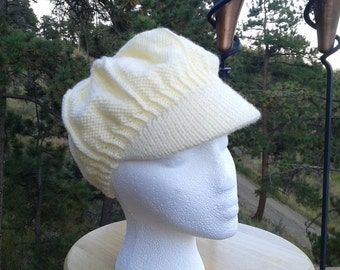 Cream Newsboy hat with peak