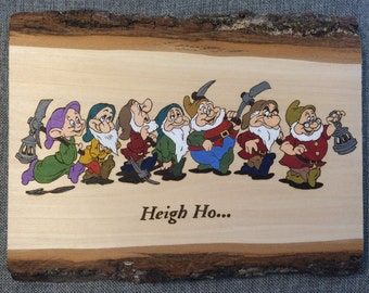 Woodburned and painted Seven Dwarves