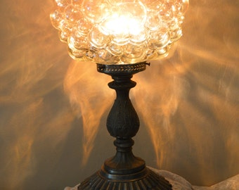 Antique art deco Amber Glass lamp - Cast Iron Table / Boudoir lamp - antique home decor- treasury featured item