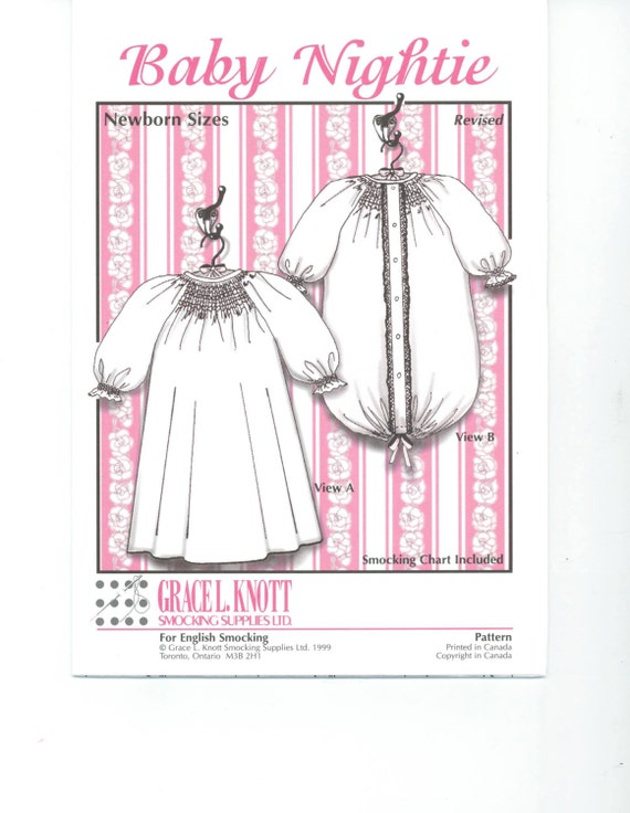 Baby Nightie Pattern, Grace Knott design Sewing pattern, diaper cover, vintage