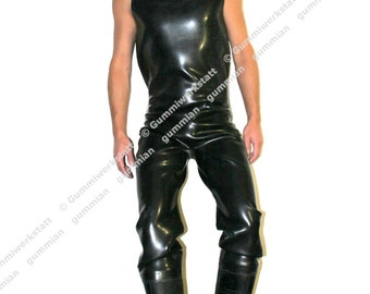 Dungarees Chest waders made from 1,5 mm extra heavy natural rubber with attached rubber boots/wellies, made-to-measure