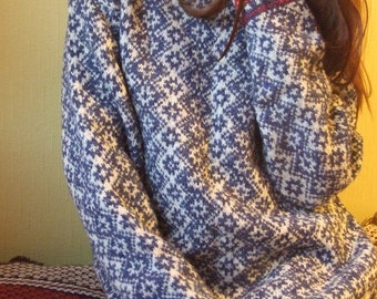 mens  handknitted sweater in blue and white with red-white edges