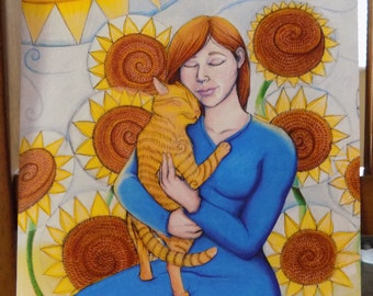 Woman Embracing Sunflower Cat Print