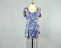 novelty print mini dress . 60s micro mini dress . house & tree print dress . size medium womens  dress . 1960s / 1970s dress