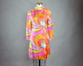 1960s dress by Suzy Perette . pastel mosaic print silk dress . vtg psychedelic ship at sea dress . 60s shift dress w/ matching scarf belt