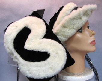 Gorgeous Genuine ERMINE Fur, & Black Velvet 1930's Ladies Hat, with Matching MUFF