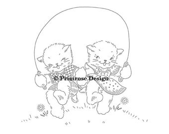 Vintage Hand-Embroidery Pattern PDF - Jump Roping Cats (VP122)
