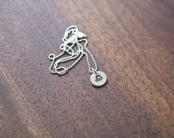 Libra Necklace - Zodiac Necklace - Gift for her October Birthday Gift Sterling Silver Libra Pendant Tiny Libra Small Libra Necklace Simple