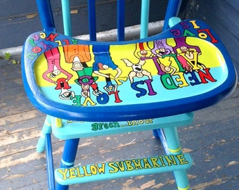 Yellow Submarine Beatles Fab 4  High Chair Hand Painted Spring Baby Shower Gift