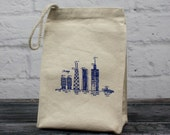 Chicago buildings diagram - eco-friendly cotton lunchbag