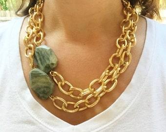 Green Line Jasper Necklace, Green Gemstone Necklace, Green Jasper Necklace, Green Line Jasper Jewelry, Green Jasper Jewelry, Green Gemstones