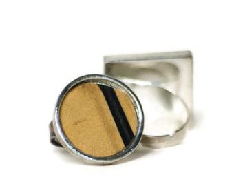 License Plate Ring Black Stripe Tan Sand Ecru Silver Ring Vintage Metal Recycled License Plate Big Ring Adjustable Valentine Gift