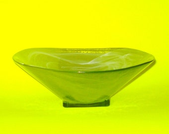 Vintage Large Green Swirled Glass Bowl