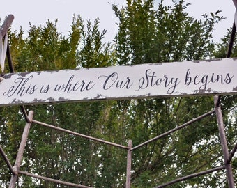 This is Where Our Story Begins. Wedding Signs. Shabby Chic Wedding. Wedding Ceremony Sign. Photo Props. Distressed Signs. Wedding Decor.